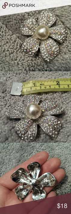 Premier Designs sparkly flower brooch Accepting offers!  Large center pearl, glitters with clear and iridescent inlaid glass. Approximately two inches across. Can stick on clothes, scarves, or attach to other jewelry as styled in the last photo (turquoise necklace not included) Premier Designs Jewelry Brooches