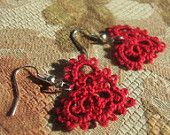 Tatted Red Heart Lace Earrings Valentines