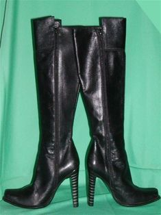 ALL leather: outside, inside, insole and sole. Knee high PLUS a front extension to make them higher. Made in Italy by Bolero. Vintage Designer Clothing, Black Leather Boots, Knee High Boots, Vintage Black, Heeled Boots, Vintage Outfits, Italy, Heels, Sexy