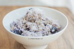 Blueberry and Vanilla Warmer - 2 scoops Protein 17, 2 cups organic oats, 1 cup organic low fat milk, 2 cups organic blueberries, and 1/2 tsp organic vanilla extract. In a microwave heat the oats and milk for around 5 minutes, mixing part way. Stir Protein 17 and the vanilla extract through the hot oats and mix well before topping with the blueberries for a warming start to the day. As oats release their energy slowly, this is the ideal breakfast to fuel your activities during the morning.