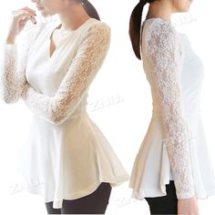 5a57508e33c57 Wholesale Women S Flared Peplum Sexy tops HOT Style Lace Sleeve Blouse Size  S M L XL 2XL