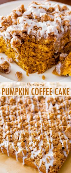 An incredibly moist and flavorful spiced-pumpkin coffee cake, piled high with a crumb topping and finished with a simple glaze. Recipe on sallysbakingaddiction.com
