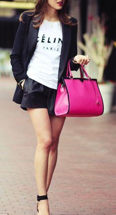 Black blazer, leather skirt, graphic tee, pink bag