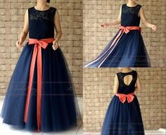 New Navy Blue Lace Flower Girl Dress Floor Length with Coral Sash and Bow