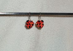 Ladybug Beaded Earrings by TheCraftyCuban on Etsy, $10.00