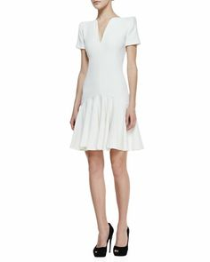 Split-V-Neck Dress with Short Sleeves, Ivory by Alexander McQueen at Neiman Marcus.