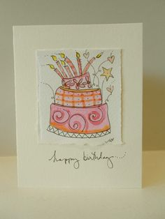 "Happy Birthday ""Shooting Stars Cake"" Blank With Envelope betrueoriginals"