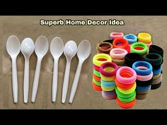 3 Superb Home Decor Ideas Using Waste Plastic Spoon and Hair Rubber Bands - YouTube Easy Paper Crafts, Dyi Crafts, Craft Stick Crafts, Creative Crafts, Decor Crafts, Home Decor, Plastic Spoon Crafts, Plastic Spoons, Hair Rubber Bands