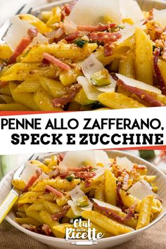 Penne with Saffron, Speck and Zucchini - Penne with Saffron, Speck and Zucchini are a tasty and colorful pasta dish that is prepared quickly - Pasta Recipes, Snack Recipes, Penne, Scones Ingredients, Ricotta Pasta, Healthy Snacks, Healthy Recipes, Food For A Crowd, Pasta Dishes