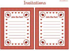 free ladybug party printable invitations