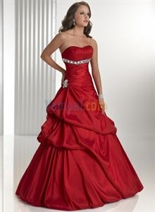 Dazzling Strapless Taffeta Red 2010 Holiday Party Ball Gown Dresses $129.00