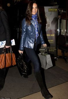 Sisters' night: Pippa Miiddleton went for a blue leather jacket and eye-catching scarf for her evening out    Read more: http://www.dailymail.co.uk/tvshowbiz/article-2229580/Pippa-Middleton-takes-time-promoting-book-girls-evening-sister-Kate--puppy-Lupo-comes-too.html#ixzz2BcZERtDM  Follow us: @MailOnline on Twitter | DailyMail on Facebook