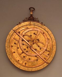 This astrolabe was made in Germany in the 17th century, a time when astrolabes were already on the verge of decline in the West. It is remarkable for its fanciful stellar markers (usually just sharp pointers, for the sake of precision) and for including the comet of 1618 and the novae of 1572, 1600, and 1604. (Adler Collections, M-34.)
