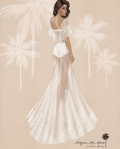Brazilian Victoria's Secret model Isabeli Fontana shows us how to rock a swimsuit for a beach wedding! She married her sweetheart Diego Ferrero on a private island in the Maldives wearing a white bikini and sheer beaded palm-motif sheath by Água De Coco Brasil. Beach wedding dress illustration. {Facebook: The Wedding Scoop}
