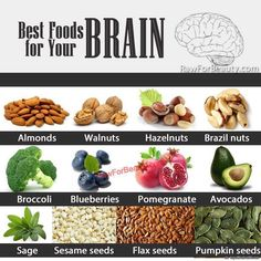 Best Foods for Your Brain Health - Nutrition - Professional Spiritual Adviser Intuitive Health Coach with Over 15 Years Expertise - Get Healthy Nutritional Tips and Spiritual Insights at the link. Good Brain Food, Healthy Brain, Brain Health, Healthy Tips, Healthy Foods, Healthy Eating, Keeping Healthy, Vegan Foods, Brain Food Memory