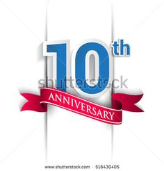 10 years anniversary logo, blue and red colored vector design on white background. template for Poster or brochure and invitation card.