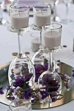 2019 brides favorite weeding color stylish shade of purple--wedding centerpieces with flowers, wedding tableware display, diy wedding table settings, floral wedding decorations Wedding Table Centerpieces, Flower Centerpieces, Reception Decorations, Centerpiece Ideas, Submerged Centerpiece, Wine Glass Centerpieces, Reception Ideas, Simple Centerpieces, Inexpensive Wedding Centerpieces