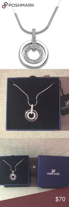 Swarovski Necklace and Pendant This necklace and pendant provide the perfect element of style and sparkle to your look! Pendant features two cut out circles. Very glamorous and chic😍 New with tags, box and authenticity card! Swarovski Jewelry Necklaces