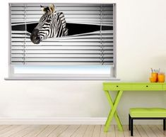 For the zebra lovers this photo printed roller blind of a cheeky zebra peeking through the blinds will make for a great talking point in your home or office. Home, Roller Blinds, Blinds For Windows, Blackout Roller Blinds, House Blinds, Blind Material, Blind Art, Blinds, Prints