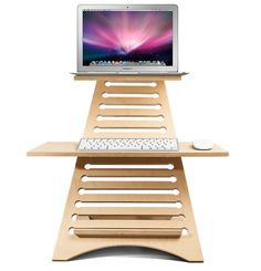 Elevate Standing Workstation with Laptop, keyboard and mouse