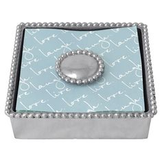 Mariposa Beaded Napkin Box with Pearled Weight