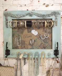 Painted Cottage Chic Shabby Farmhouse Jewelry Organizer [HD161] - $59.00 : The Painted Cottage, Vintage Painted Furniture