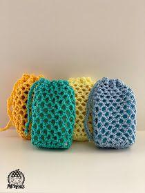 Mafke: Zeepzakjes (incl. patroon) Crochet Pouch, Crochet Bracelet, Crochet Gifts, Diy Crochet, Crochet Toys Patterns, Amigurumi Patterns, Stuffed Toys Patterns, Knitting Patterns, Net Making