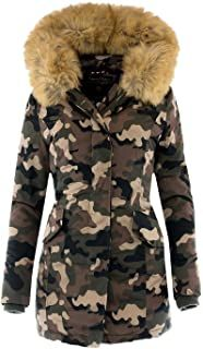 Marikoo Damen Flauschige Winter Jacke Stepp Mantel Parka mit