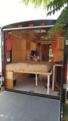 Enclosed Trailer Camper Conversion, Cargo Trailer Conversion, Enclosed Trailers, Small Cargo Trailers, Camper Trailers, Utility Trailer Camper, Truck Bed Camper, Truck Camping, Small Campers