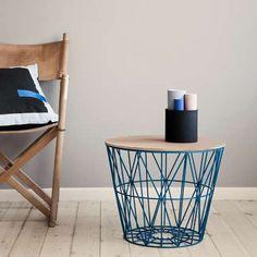 Table d'appoint / contemporaine / en métal / ronde - WIRE BASKET - http://www.fermliving.com/