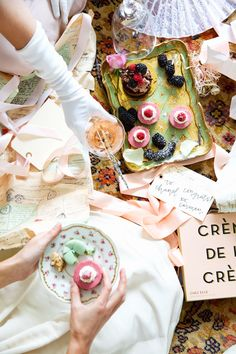the prettiest mess ever! desserts, bubbly and shredded gift wrap!