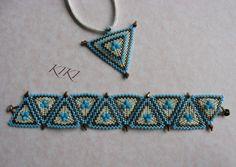 KIKI beads: a kaleidoscope of turquoise bronze peyote set - bracelet and pendant