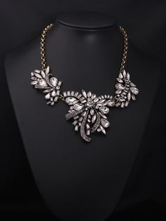 Glass crystal floral chunky necklace wholesale 2015