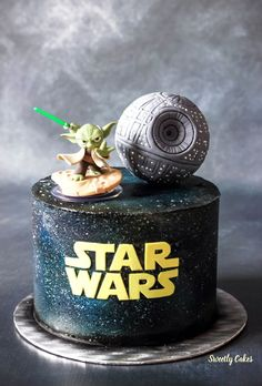 Gâteau Star Wars Effet Galaxie à laérographe - Baby Star Wars - Ideas of Ba. - Gâteau Star Wars Effet Galaxie à laérographe – Baby Star Wars – Ideas of Baby Star Wars - Star Wars Torte, Bolo Star Wars, Star Wars Cake Toppers, Star Wars Baby, Theme Star Wars, Star Wars Birthday Cake, 40th Birthday Cakes, Boy Birthday, Birthday Ideas