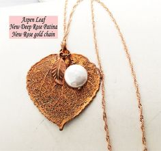 Real Leaf Jewelry,Colorado Aspen Leaf Pendant, Deep Rose Gold, Freshwater pearl, initial, rose gold pltd chain Natures Leaves