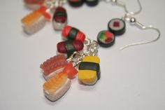 Sushi Cluster Earrings, Fimo, Polymer Clay. £4.50, via Etsy by KatKraftUK