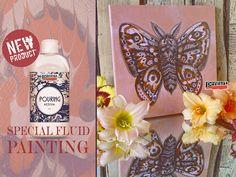 Pentart dekor: Új termék: Pouring medium és szilikon olaj festékf... Hobbit, Decoupage, Butterfly Canvas, Mixed Media, Medium, Projects, How To Make, Diy, Painting