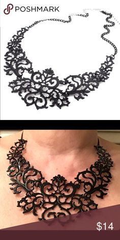 Black Bib Choker Statement Necklace Black Bib Choker Statement Necklace   Approx. 3.34 x 2.54 inches  Lays nicely due to being made in three sections so it is not rigid Adjustable  Metal: Alloy Beach Wave Jewelry Necklaces