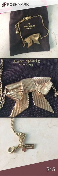 Kate Spade All Wrapped Up Bow Necklace Necklace about 18 inches long from Kate Spade. Not sure what metal it is but it's gold coloured. Hardly worn. Comes with original dust bag. Thanks for looking! kate spade Jewelry Necklaces