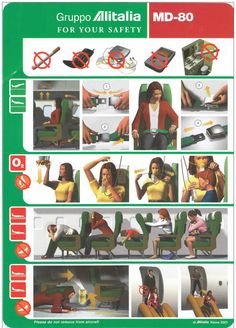 Safety Card  Alitalia MD-80 (1) front side Boeing 777, Safety Instructions, Vintage Air, Cabin Crew, Air Travel, Airplanes, Aviation, Nostalgia, Aircraft