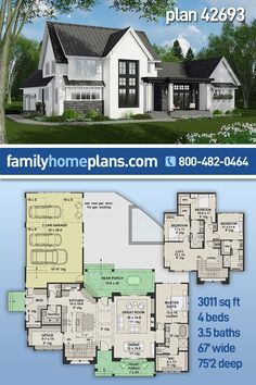 Beautiful two-story farmhouse plan with a spacious three car garage at the rear of the home. Inside, an open floor plan with the master suite, informal dining room, private office, large kitchen with center island and seating. On the second floor three bedrooms, two bedrooms, loft and a computer nook. All our house building plans can be modified, just give us a call at 800-482-0464 to get the process started. #houseplans #floorplans #modernfarmhouse #farmhouse #homebuilding #floorplans