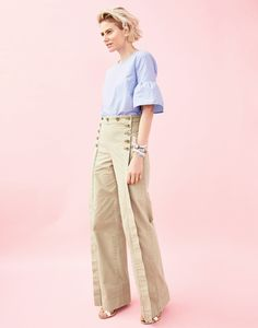"J.Crew classic with a twist: The sailor chino. A high-waisted, wide-leg pant designed to give you legs ""as far as the eye can see"" (that's how sailors talk, right?)."