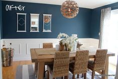 80 miles to brewster: dining room: before & after-ish gentleman's gray benjamin moore Dining Room Paint Colors, Dining Room Blue, Dining Room Walls, Dining Room Design, Dining Table, Small Dining, Decoration, Benjamin Moore, Diy