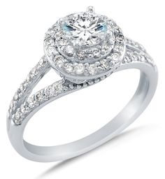 Size 4 - Solid 14k White Gold Cirque Halo Round Brilliant Cut Solitaire with Round Side Stones Highest Quality CZ Cubic Zirconia Engagement Ring 1.25ct.
