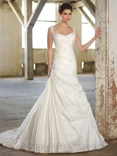 A-line Straps Taffeta Sweep Train White Lace Wedding Dresses at Millybridal.com