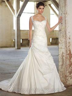 A-line Straps Taffeta Sweep Train White Lace Wedding Dresses at Millybridal.com