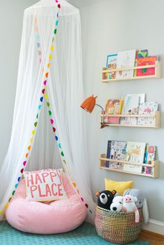 Toddler's Whimsical Bedroom Makeover - Toddler's Whimsical Bedroom Makeover kid reading nook with book ledges, girl bedroom decor with canopy and reading corner, playroom decor for girls Playroom Design, Playroom Decor, Kids Room Design, Nursery Decor, Bedroom Decor, Playroom Ideas, Bedroom Ideas, Bedroom Designs, Bedroom Curtains
