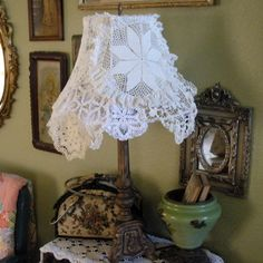 Doilies Lace Lamp Shade Handmade Multi Sided by SweetRepeatVintage,