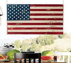 """Love this """"weathered"""" painted American Flag by Pottery Barn. $129    #hammocking, #relax, #4thofJuly, #IndependenceDay, #stripes, #stars, #american flag, #fourth, #traditional"""
