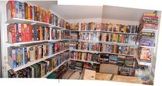 650 Board Games on 2 Walls! Board Game Cafe, Board Games, Board Game Storage, Game Rooms, Storage Ideas, Techno, Living Spaces, Bookcase, Shelf